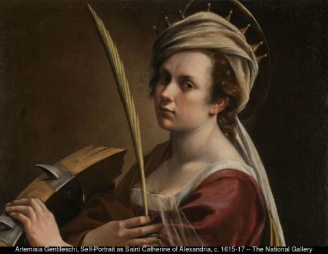 "Artemisia Gentileschi, ""Self-Portrait as Saint Catherine of Alexandria,"" c. 1615-17 -- The National Gallery, London"
