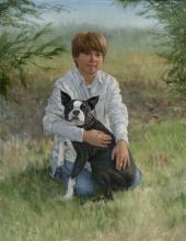 Portrait of Alec Jacquin and Dog