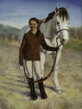 female child portrait with horse